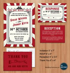 Printable Wedding Invitation Suite- Vintage Rockabilly Red Circus / Carnival Poster Themed Invitation, RSVP , Reception and Thank You Card