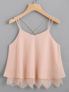 Shop Lace Hem Criss Cross Back Strappy Top online. SheIn offers Lace Hem Criss C. - Shop Lace Hem Criss Cross Back Strappy Top online. SheIn offers Lace Hem Criss Cross Back Strappy Top & more to fit your fashionable needs. Girls Fashion Clothes, Teen Fashion Outfits, Mode Outfits, Girl Fashion, Girl Outfits, Casual Outfits, Fashion Design, Summer Outfits, Womens Fashion