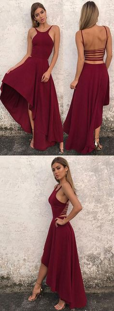 Simple Homecoming Dress,A Line Halter Homecoming Dress,High Low Prom Dress,2018 evening dresses