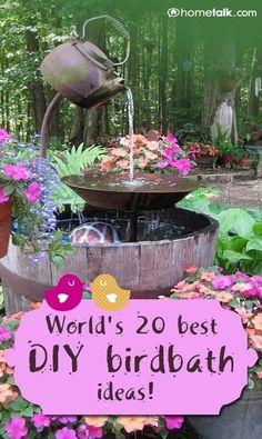 Worlds 20 Best DIY Birdbath Ideas!  COPPER PENNIES BEFORE 1980 FOR FUNGUS RELIEF IN FOUNTAINS #watergardens