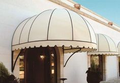 Elegant awnings hood, ideal to cover windows of private houses and commercial storefronts. Awning Canopy, Canopy Outdoor, Outdoor Patios, Outdoor Window Awnings, House Awnings, House Outside Design, Shade House, Dome House, Wall Shelves Design