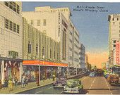 Vintage Florida Postcard - Miami - Flagler Street Shopping Center Burdine's McCrorys