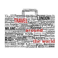agence de voyage: Voyage autour du concept de monde fait avec des mots dessiner une valise, illustration vectorielle