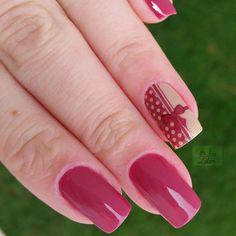 nail art unha decorada delicada marsala