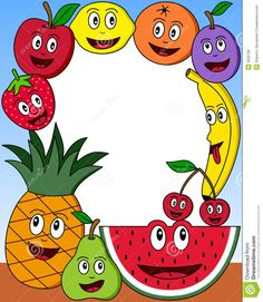 Cartoon Fruit Photo Frame stock illustration - New Site Fruits And Vegetables Pictures, Fruits Photos, Food Border, Cliparts Free, Fruit Cartoon, School Painting, Borders And Frames, Kids Learning Activities, Border Design