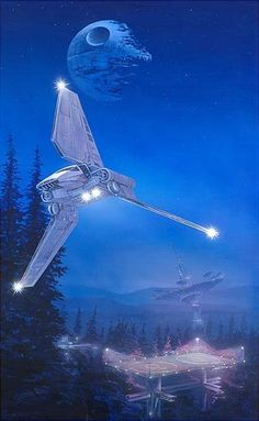 A stunning Star Wars work of art from Acme Archives! Hand-numbered, limited edition giclee on paper. It shows an Imperial shuttle and the Death Star above the forest moon of Endor Star Wars Film, Nave Star Wars, Star Wars Art, Star Trek, Film Mythique, Starwars, Star Wars Vehicles, Star Wars Images, Mundo Comic