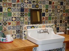 What I want for the laundry room backsplash - but not so busy.