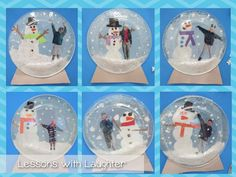 snow globes craft + writing assiette transparente de la frigolite toute fine