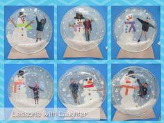 snow globes craft + writing = bulletin board before December break