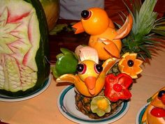 Veggie Art fruitart, foods, fruit carvings, bird food, home decorations, funni food, fruit art, birds, food art