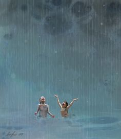 Sommerregn av Lisa Aisato Summer Rain by Lisa Aisato Rain Illustration, Rain Pictures, Rain Art, Summer Rain, Dancing In The Rain, Rain Dance, Cute Wallpaper Backgrounds, To Infinity And Beyond, Travel Posters