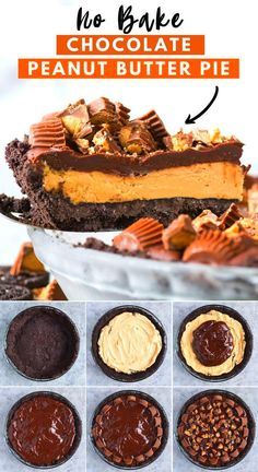 This no bake chocolate peanut butter pie is a must make! This reeses pie has an oreo crust creamy peanut butter filling and is loaded with reeses cups. Plus its only 8 ingredients! Serve it chilled from the fridge or frozen! #peanutbuttercuppie #reesespie #nobakepie #nobakereesespie #nobakepeanutbutterpie ...ater Dash of saltWhile water is boiling in a tea kettle mix remaining ingredients in a saucepan Add water to this dry mixture and cook until it starts...s and similar events A coupe… No Bake Chocolate Desserts, Peanut Butter Desserts, Chocolate Pies, Köstliche Desserts, Health Desserts, Chocolate Peanut Butter, Chocolate Recipes, Chocolate Peanutbutter Pie, Chocolate Pie Filling