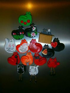 Cats. Magnets. Saltdough. Polymer. Www.facebook.com/drobiazgizmasysolnej