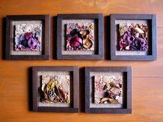 """""""Lembranças de um Outono"""" Quadrinhos no formato 20x20cm, confeccionados em técnica direta, com o uso de materiais diversos (pedras semi preciosas, mármores, cerâmica, folhas e flores secas, entre outros) . Possuem moldura em itaúba e fundo em juta."""