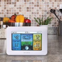 #AcuRite Color Weather Station 02038 / 02041CASB | Uses patented Self-Calibrating Technology to provide your personal forecast of 12 to 24 hour weather conditions.   The colorful, backlit LCD screen includes indoor / outdoor temperature and humidity, moon phase, barometric pressure, time, date, and a Humidity Level Icon to easily convey a low, high or ideal humidity level. Intelli-Time clock automatically updates itself for Daylight Saving Time.   Get it on AcuRite.com