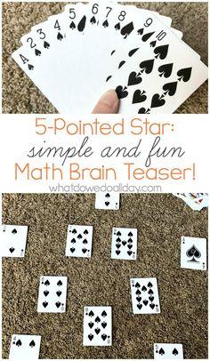 Math card puzzle to stretch kids brains.