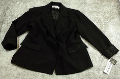 Maxie Klein Blazer Jacket Womens Size 20W Black Sequin Embellishments FLAW - NEW
