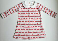 Red Scallop Organic Long Sleeve Holiday Dress by LittleBowAndArrow, $48.00