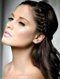 LOVE this half up half down hair style with braids. I like that it keeps hair away from the face, but it can still be down in the back.