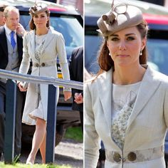 Dutchess Kate, attending wedding of Princess Diana's neice, recycles silky floral-infused Jenny Packham sheath — first debuted at a polo match in Santa Barbara last July — with her custom-made Katherine Hooker coat, which was first seen at last June's Order of the Garter service. The whole look is stunning.