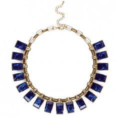 Women's Cobalt Metal Stone & Chain Collar//