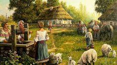 Скачать обои лето, станица, Андрей Лях, арт, колодец, раздел живопись в разрешении 1366x768