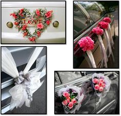 Wedding car decoration - love the heart shaped flower wreath