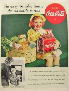 Vintage Coke Ads | ... Cola Coke Ad ~ Girl with Basket, 6 Bottle Pack, Vintage Coca Cola Ads