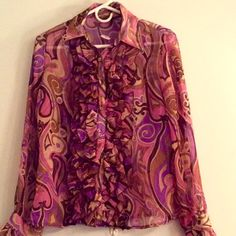 PINK/PURPLE PAISLEY TUX BLOUSE SPECIAL!! Sexy yet refined. Bold yet tasteful. A beautiful top. Wear it with jeans, a work skirt or a dressy suit for an evening affair. Head turning! Never worn. Lila Rose Tops Blouses