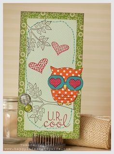 A cute Valentine owl card using Unity stamps designed by Tamara Tripodi