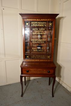 This is a stunning piece of Victorian shop display / painted Chemist's cabinet this one is from Booth and Langley Dispensary Pharmacy advertising brushes, Antique Secretary Desks, Secretary Desk With Hutch, Antique Furniture, Painted Furniture, Home Furniture, Shop Cabinets, Sign Writing, Shop Fittings, Vintage Typography