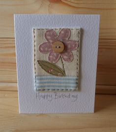 Hand Sewn Card by Lindsey Brandish on Etsy Fabric Cards, Fabric Postcards, Paper Cards, Diy Cards, Hand Made Greeting Cards, Making Greeting Cards, Greeting Cards Handmade, Embroidery Cards, Sewing Cards
