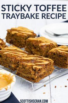 Tray Bake Recipes, Brownie Recipes, Baking Recipes, Cookie Recipes, Dessert Recipes, Cake Recipes Uk, Frosting Recipes, Toffee Cake Recipe, Sticky Toffee Pudding Cake
