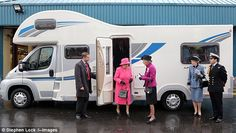 Going glamping, Your Majesty? The Queen steps out of a motorhome during a visit to Bailey Caravans.   Rentzio | Away you go! http://www.rentzio.com/Motorhomes-rvs