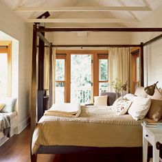 Wow, I can live in this room. Love the balcony, but especially love the window seat!