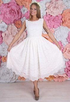 A pretty midi ivory lace dress