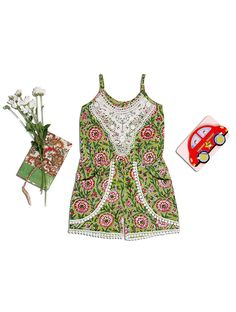 968545769395 Buy White Green Red Block printed Cotton Jumpsuit Kids Dresses Jumpsuits  The Cute Life apparel