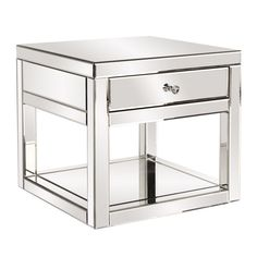 Simple Modern Mirrored Accent Table with Drawer