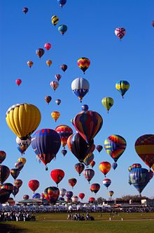 The Albuquerque International Balloon Fiesta is a yearly festival of hot air balloons that takes place in Albuquerque, New Mexico, USA during early October. The balloon fiesta is a nine day event, and has around 750 balloons. The event is the largest hot air balloon festival in the world.