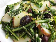"""intriguing: """"Warm Dandelion-Potato Salad-this is my favorite potato salad. Never disappoints--and you get the benefit of liver-loving dandelion, too! Yummy Vegetable Recipes, Heart Healthy Recipes, Raw Food Recipes, Healthy Dinner Recipes, Salad Recipes, Diet Recipes, Vegetarian Recipes, Healthy Salads, Healthy Eating"""