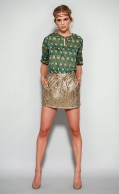 this peacock inspired blouse would look fab on you for the holidays but maybe leave the funky headband out :)
