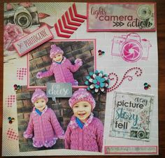 Another of beautiful Hayley! Products not on list: Camera Stencil Half Tone stencil Chevron chipboard Paper and flowers Lights Camera Action, Light Camera, My Scrapbook, Scrapbooking, Chevron, Stencils, Layout, Paper, Frame