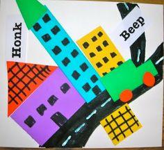 """stuart davis. first streets. then buildings/patterns. then """"noises"""" clip art . adorable for kinder."""