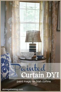 Annie Sloan Chalk Paint Stenciled Curtains  Large Scale Stencils  ~I got mine HERE  Curtains~ iron them first  Annie Sloan Chalk Paint ~ I used Pure White  Small Sponge Roller  Paint Tray  Water  Painter's Tape
