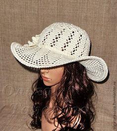Шляпка с полями летняя - бежевый,летняя шляпа,шляпа с полями,шляпа крючком