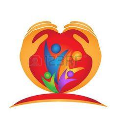 family hands and heart shape logo Stock Vector