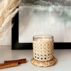 Palm Beach Wedding, Glass Candle, Bergamot, Calming, Rattan, Special Gifts, Unique Gifts, Fill, Hand Weaving