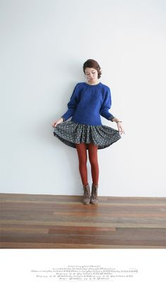 proportion of sweater to skirt, thick tights