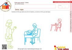 Cerca - lejos 1: Lógico matemática 3 años Map, Kids, Fence, Kids Education, Brochures, Initials, Preschool, Children, Boys