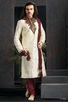 12902 White and Off White color family Kurta Pyjamas in Art Dupion Silk fabric with Zardozi, Cut Dana, Patch, Stone work. Sherwani Groom, Mens Sherwani, Wedding Sherwani, Indie Mode, Dupion Silk, Ethnic Wear Designer, Off White Color, India Fashion, Men's Fashion